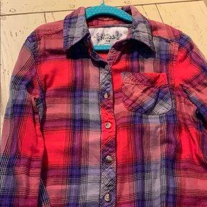 Mudd Flannel shirt Button Down Girls Size 7/8